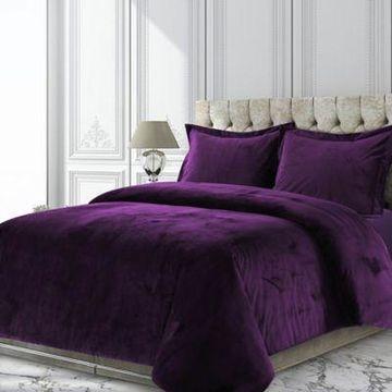 Tribeca Living Venice Velvet Queen Duvet Cover Set in Purple