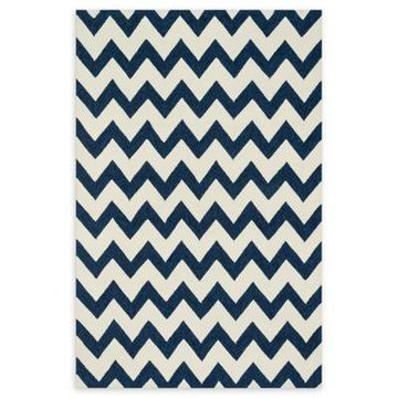 Loloi Rugs Venice Beach Chevron Indoor/Outdoor 2'3 x 3'9 Accent Rug in Ivory/Ink