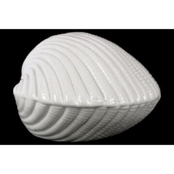 Ceramic Clam Seashell Figurine Gloss Finish White - Benzara