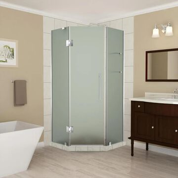 Aston Merrick GS 72-in H x 34-1/4-in W Frameless Hinged Shower Door (Frosted Glass) Stainless Steel   SEN961FSS3410