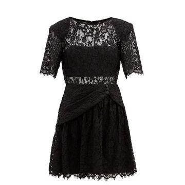 Self-portrait - Gathered Cotton-blend Corded-lace Mini Dress - Womens - Black