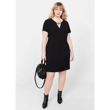 Violeta BY MANGO - Pearl detail dress black - 16 - Plus sizes