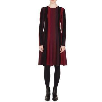 Akris Punto Womens Dress Red Burgundy Size Small S A-Line Striped