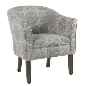 Benzara Modern Gray and Brown Linen Accent Chair | BM194025