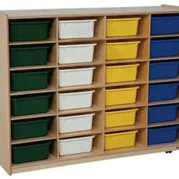 Wood Designs 24 - 5 Large Letter Tray Storage Unit With 24 Assorted Trays, Birch | Quill