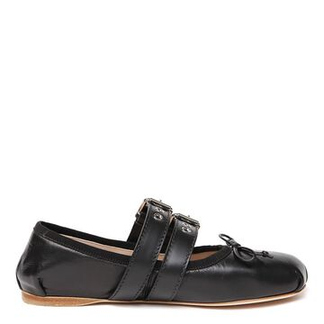 Miu Miu Black Leather Buckled Ballerina Slippers