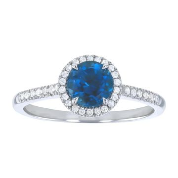 10k White Gold 1 1/5ct. Diamonds and Round London Blue Topaz Halo Ring by Beverly Hills Charm