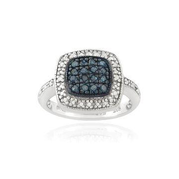 DB Designs Sterling Silver 1/6ct TDW Blue Diamond Square Ring (5)