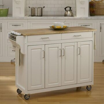 Home Styles White Wood Base with Wood Top Kitchen Cart (17.75-in x 48-in x 35.5-in) Rubber