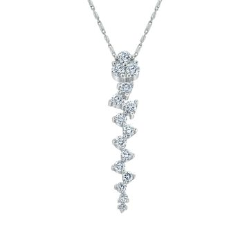 14k White Gold 1ct. TDW Diamond ZigZag Drop Necklace by Beverly Hills Charm