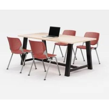 KFI Midtown Office Table Set, Maple Top, 4 KOOL Chairs (Coral Chairs)
