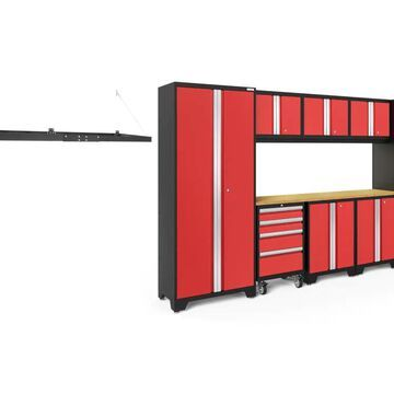 NewAge Products Bold Series 132-in W x 77.25-in H Deep Red Steel Garage Storage System | 50384
