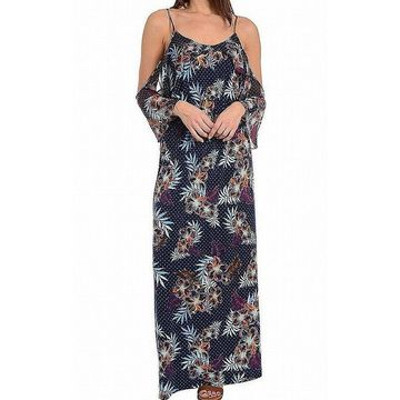 NY Collection Blue Women's Size XL Floral Contrast Maxi Dress