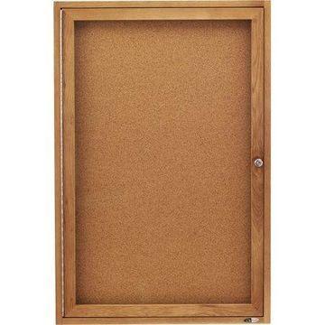 Quartet, QRT363, Oak Frame Enclosed Cork Bulletin Board, 1 / Each
