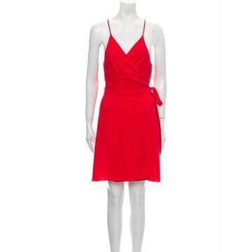 V-Neck Knee-Length Dress Red