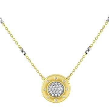 14k Two Tone Gold 1/4ct. TDW Medallion Necklace by Beverly Hills Charm