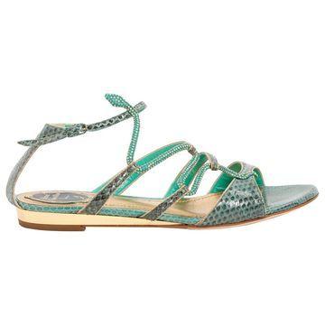 Rene Caovilla Green Python Sandals