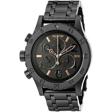 Nixon Womens Chrono Analog Display Japanese Quartz Watch All Black/Rose Gold