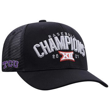 Men's Top of the World Black TCU Horned Frogs 2021 Big 12 Baseball Conference Tournament Champions Locker Room Adjustable Hat