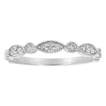 Beverly Hills Charm 10k White Gold 1/5ct Diamonds Art Deco Band Ring - White H-I