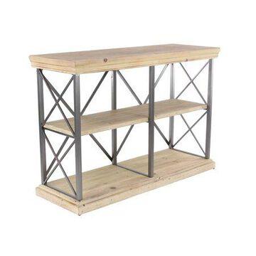 Decmode Modern Fir Wood and Iron 2-Tier Shelf, Brown