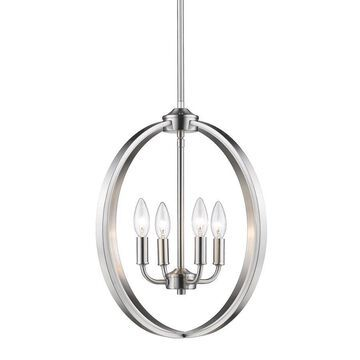 Golden Lighting Colson 4-Light Pewter Modern/Contemporary Chandelier
