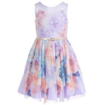 Big Girls Belted & Embellished Floral Mesh Skater Dress