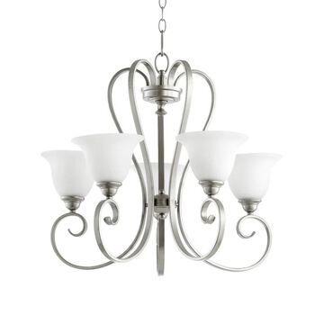 Quorum International 6053-5 Celesta 5 Light 1 Tier Chandelier Classic Nickel Indoor Lighting Chandeliers