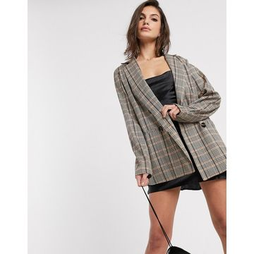 Vila double breasted blazer in brown check-Multi