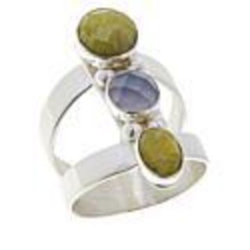 Mine Finds by Jay King Sterling Silver Green Opal and Blue Agate Ring - Silver