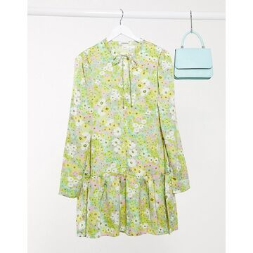 Glamorous mini smock dress with peplum hem in vintage floral-Green