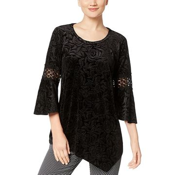 NY Collection Womens Velvet Crochet Pullover Top