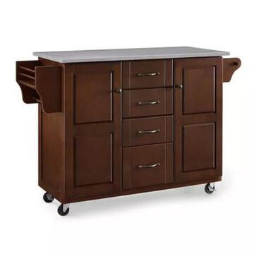 Crosley Eleanor Rolling Kitchen Cart in Mahogany with Stainless Steel Top