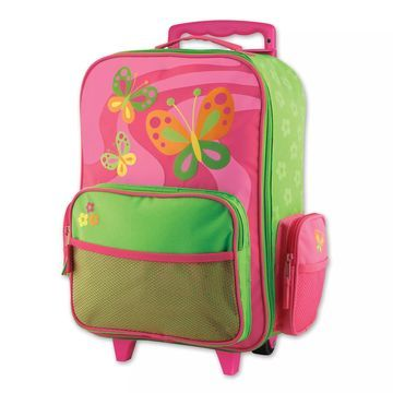 Stephen Joseph& Butterfly Rolling Luggage in Pink