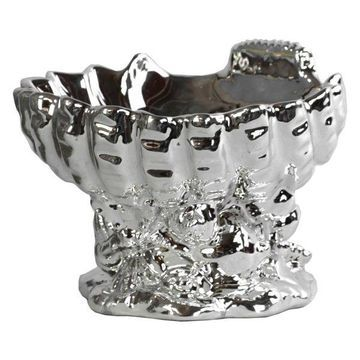 Ceramic Open Valve Clam Shellfish Bowl, Polished Chrome Silver