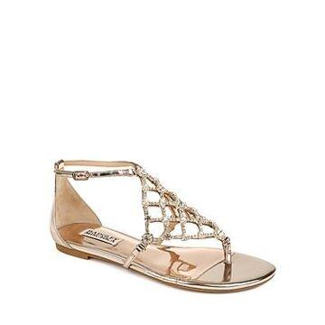Badgley Mischka Women's Zoanne Crystal Cage Thong Sandals