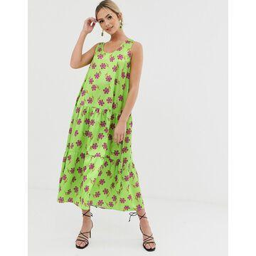 Liquorish A line midi dress in green floral print