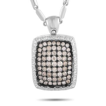 Roberto Coin White Gold Brown Diamond Pave Rectangle Cushion Pendant Necklace