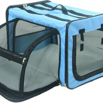 Pet Life Capacious Dual-Expandable Soft-Sided Collapsible Travel Dog Crate
