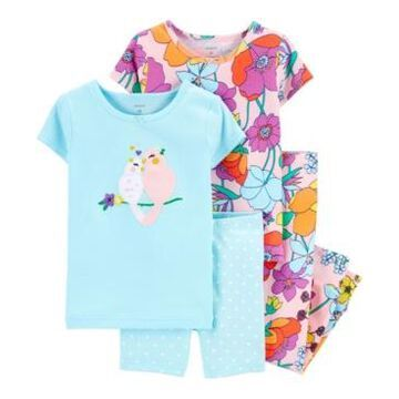Carter's Toddler Girls Floral Birds Snug Fit Pajamas, 4 Piece