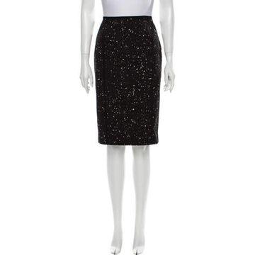 Printed Knee-Length Skirt w/ Tags Black