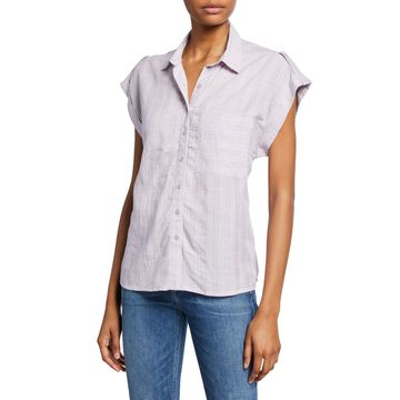 Striped Button-Front Short-Sleeve Blouse