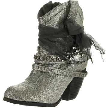 Not Rated Womens Glitzy Trio Harness Boots,Grey,10