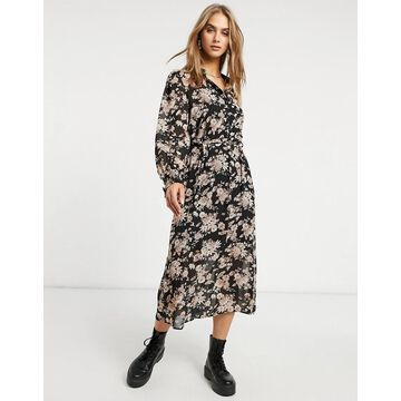Vila maxi shirt dress with balloon sleeves and tie waist in dark floral-Multi