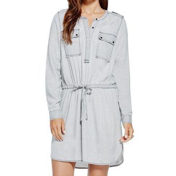 Two By Vince Camuto Women's Dress Gray Size L Sheath Drawstring