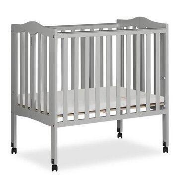 Dream On Me 2-in-1 Lightweight Folding Portable Mini Crib, Pebble Gray