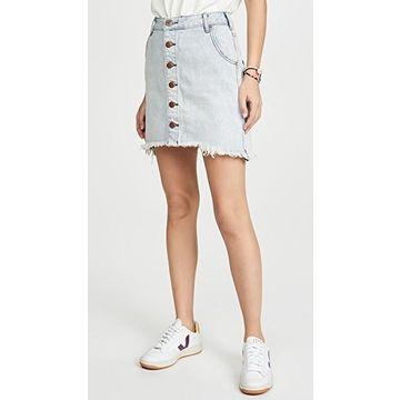 One Teaspoon Old West Viper High Waist Button Through Miniskirt