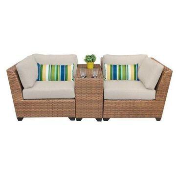 TK Classics Laguna 3-Piece Outdoor Wicker Sofa Set, Beige