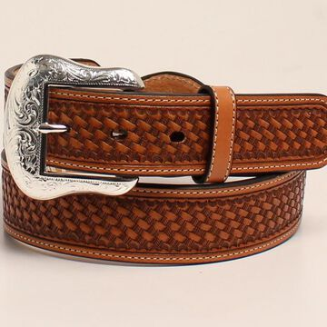 Nocona N2412902-40 Mens Silver Bar & Concho Leather Strap Belt, Brown - Size 40