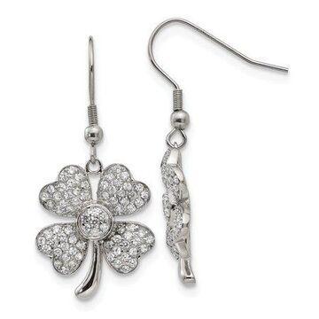 Primal Steel Stainless Steel Polished 4-Leaf Clover w/CZ Shepherd Hook Earrings